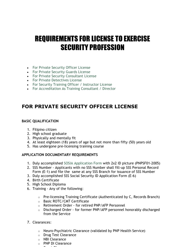 Requirements for license to exercise security profession 1betcityfo Gallery