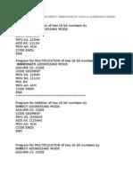 Various Addr. Modes Prgms-MPMC LAB
