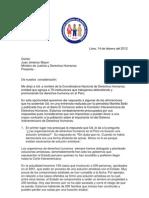 Carta a Ministro de Justicia Jimenez Mayor 14 de Febrero