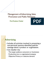 Management of Advertising, Sales Promotion and Public Relations