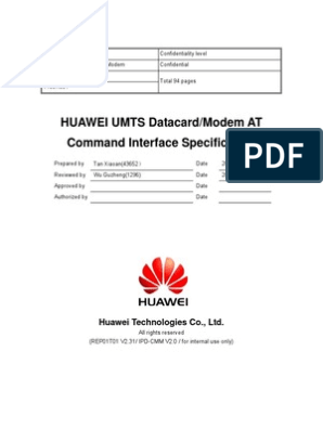 HUAWEI UMTS Datacard/Modem AT Command Interface Specification