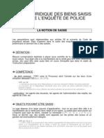 Valeur Juridique Des Biens Saisis Lors de l'enquÊte de Police