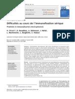 Difficultés au cours de l'immunofixation sérique 2009