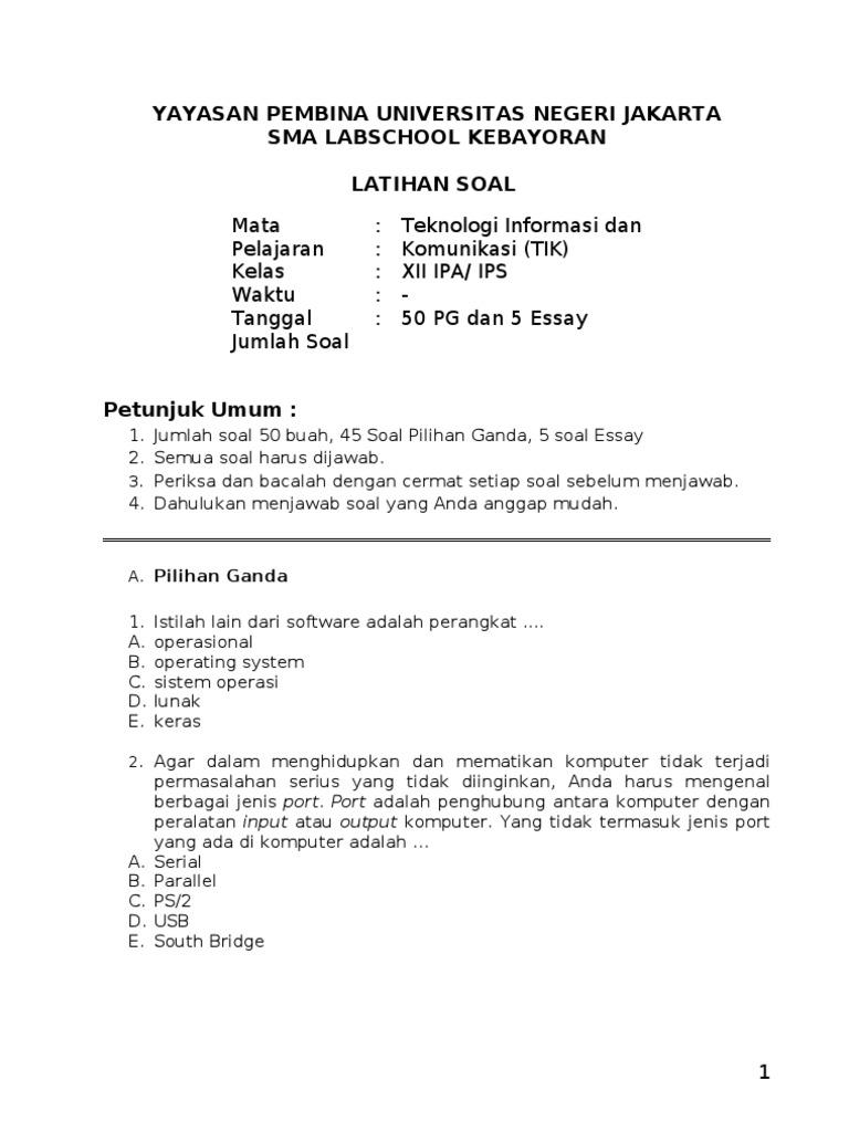 Latihan Soal Ujian Sekolah Tik 2012