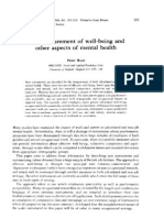 WARR the Measurement of Well-being and Other Aspects of Mental Health