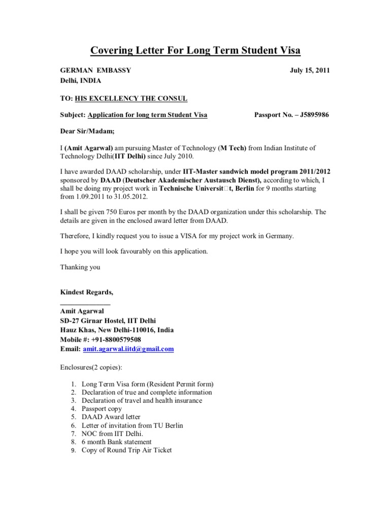 cover letter for student visa application