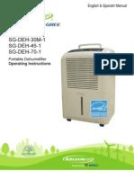 SG DEH-45 1 Dehumidifier Manual