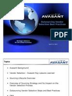 Avasant - Outsourcing Vendor Selection Webinar 4-21-11 v4-2