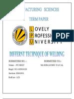 Puneet Manufacturing Sciences(Term Paper)