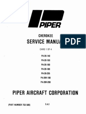 Piper PA-28 Cherokee Service Manual (PA-28-140 to PA-28R-200