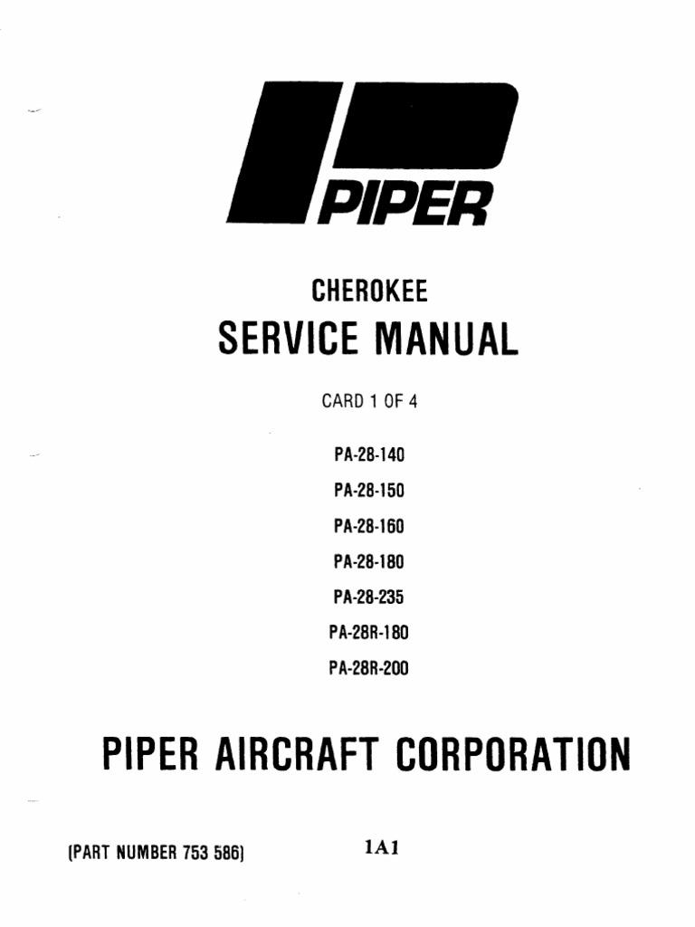 Piper PA-28 Cherokee Service Manual (PA-28-140 to PA-28R-200