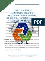 PRACTICA I - IDENTIFICACIÓN DE MATERIALES, EQUIPOS Y REACTIVOS DE LABORATORIO DE QUÍMICA ANALÍTICA