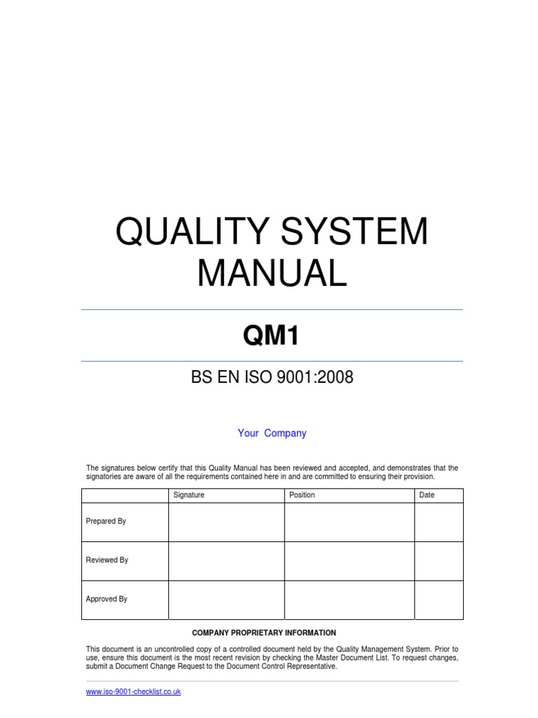 Quality Manual Template Example Iso 9000 Quality