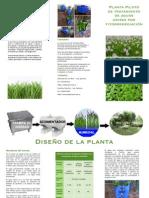 Tríptico de planta piloto de tratamiento de aguas grises por fitorremediación CSECT