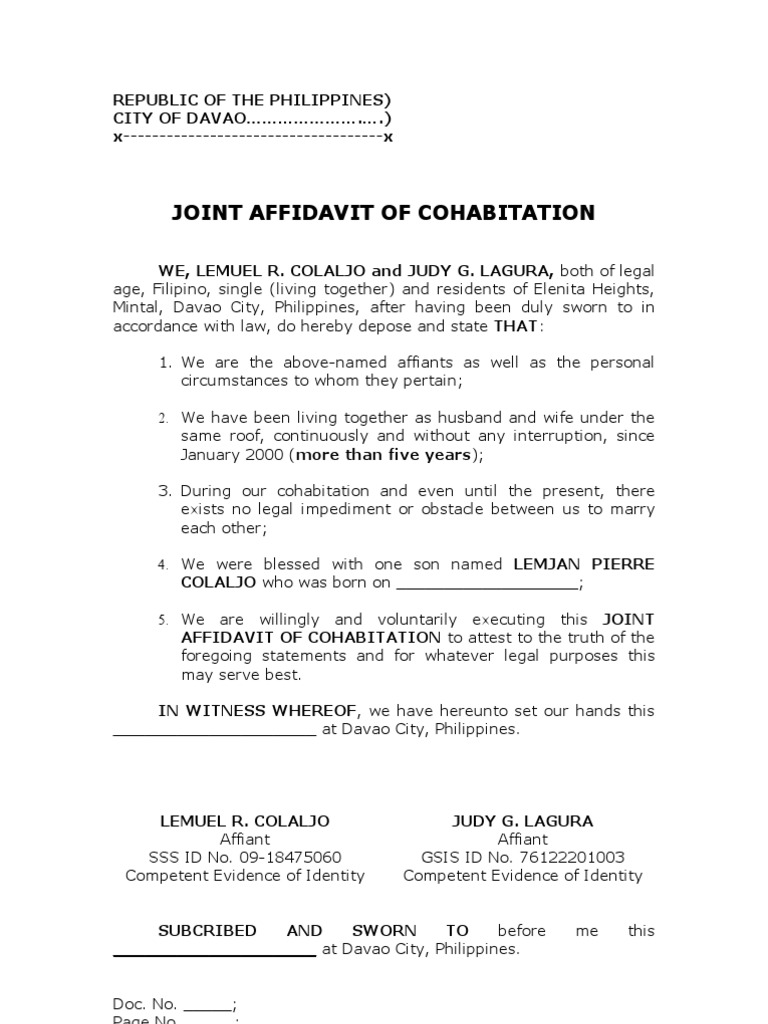 Affidavit Of Cohabitation Colaljo