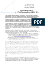Durweston Admissions Policy 2013-2014