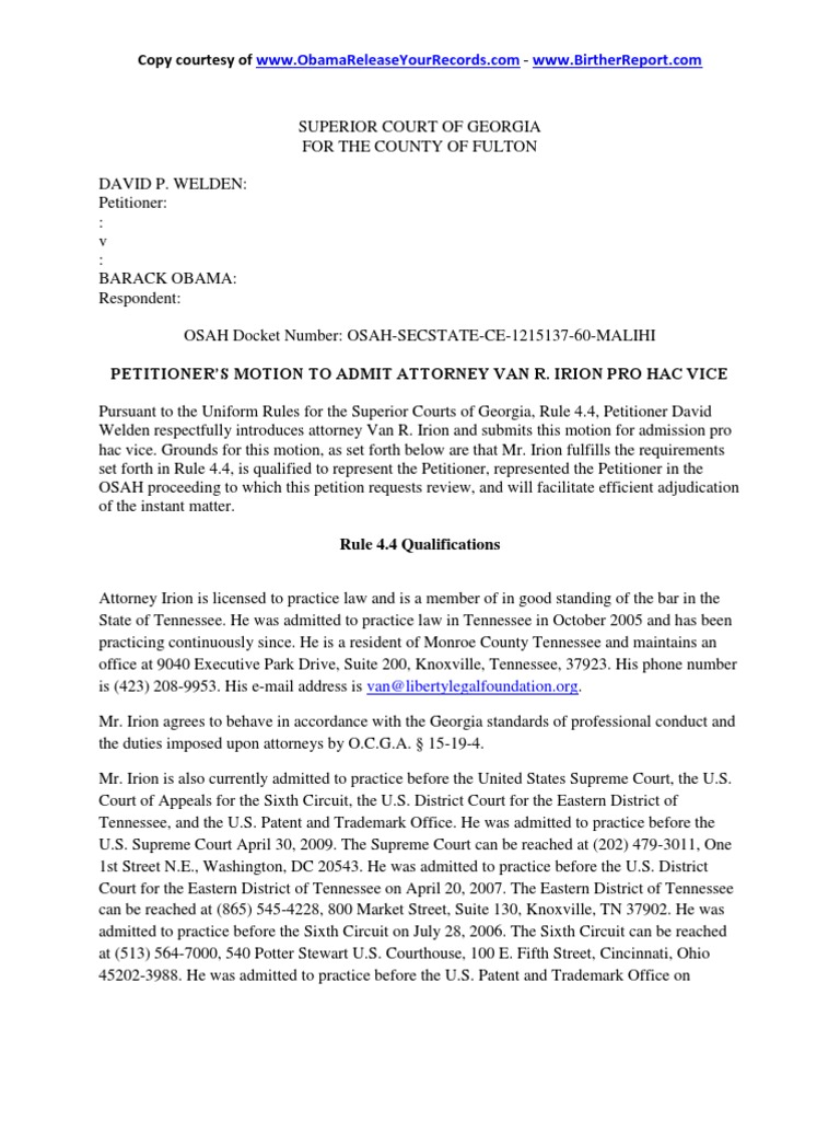Welden v obama motion to admit attorney van irion pro hac vice welden v obama motion to admit attorney van irion pro hac vice obama ballot challenge superior court of georgia for fulton county 2142012 united aiddatafo Gallery