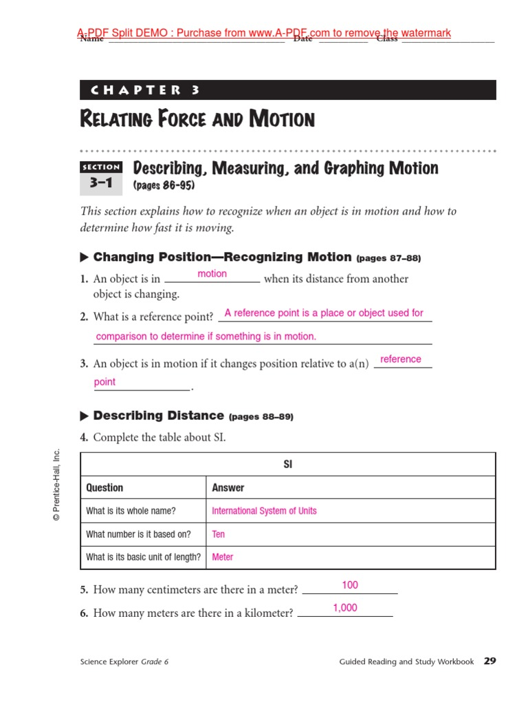 Relating Force & Motion Workbook Pages | Speed | Metre