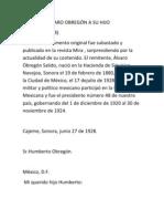 CARTA DE ÁLVARO OBREGÓN A SU HIJO