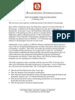 Scientology International Statement Feb 15 2012