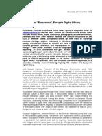 Europeana Press Release 20/11/2008