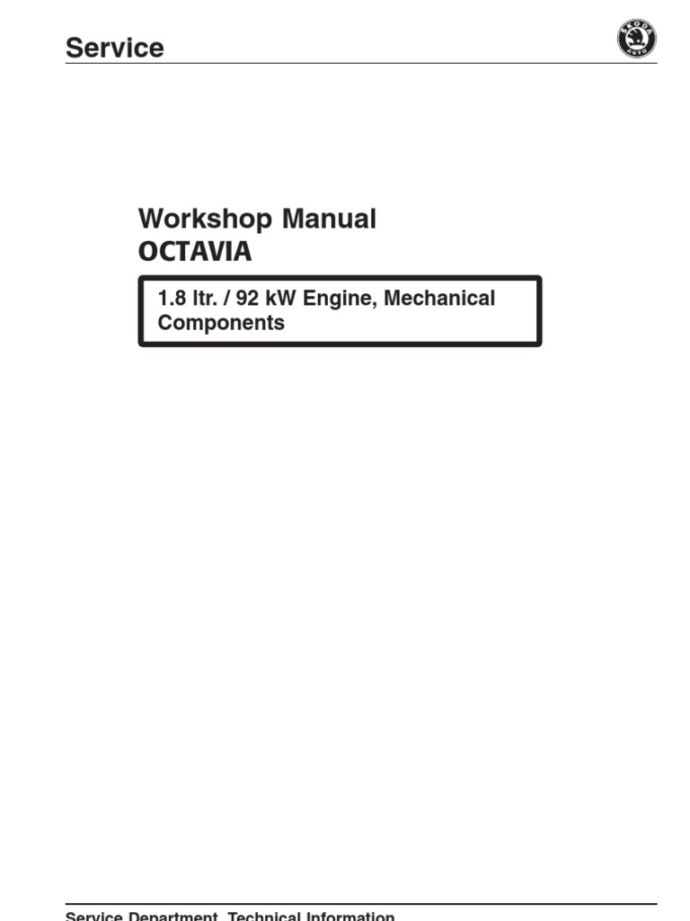 Manual Skoda Octavia 1,8 92kW | Cylinder (Engine) | Transmission (Mechanics)