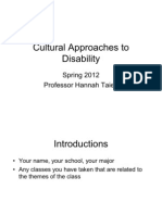 Cultural Approaches to Disability Week One