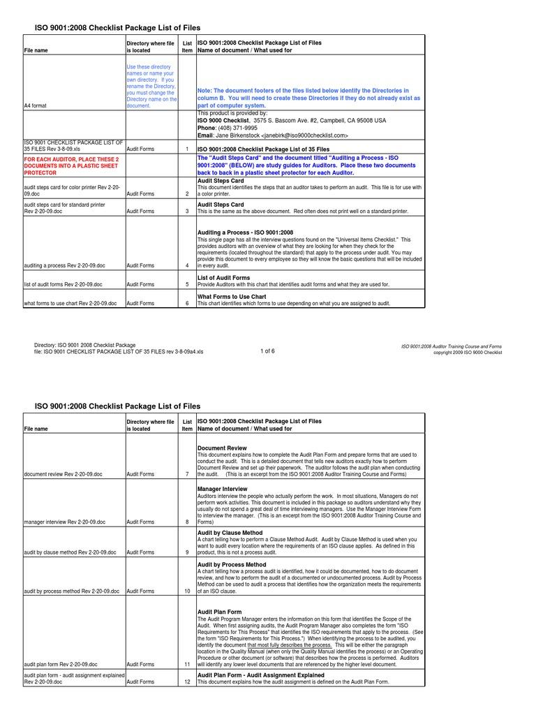 Download Iso 9001 Internal Audit Checklist Xls File