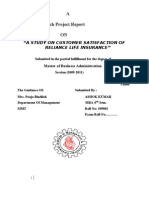 A Study on Customer Satisfaction of Reliance Life Insurance