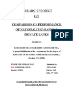 Comparison of Performance of Nationalized Banks Private Banks