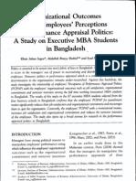 Organizational Outcomes of Appraisal Politics
