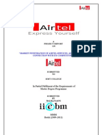 Market Penetration of Airtel Services, Airtel Post-paid Connection With Its Competitors