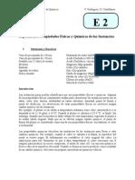 Experimento 2. Propiedades físicas y químicas de las sustancias