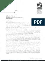 Carta al Presidente de la República del Ecuador