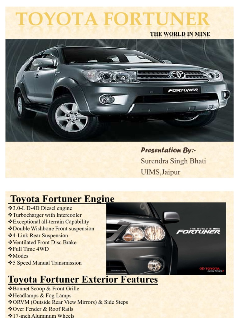 Toyota Fortuner   Motor Vehicle Manufacturers   Cars Of Japan