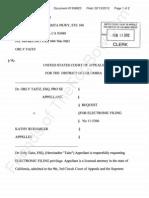 2012-02-13 TAITZ v RUEMMLER - (APPEAL USDC D.C.) - Taitz Motion for Ecf Privileges tfb
