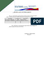 Certificate of Enrolment for 4ps