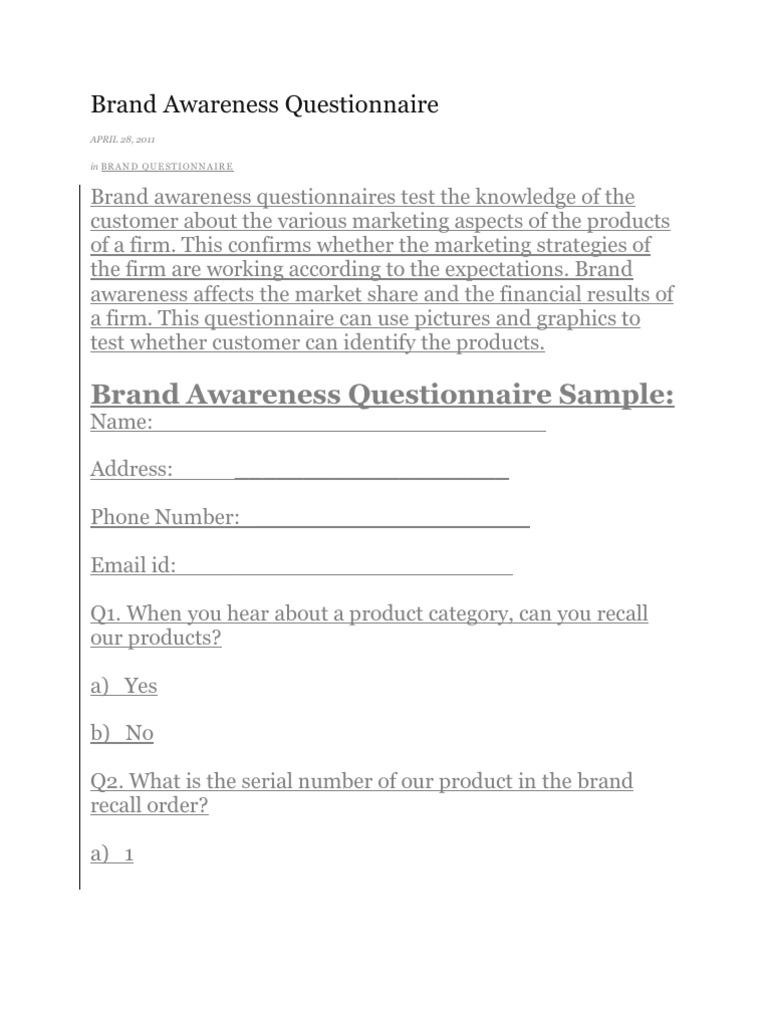 brand awareness questionnaire