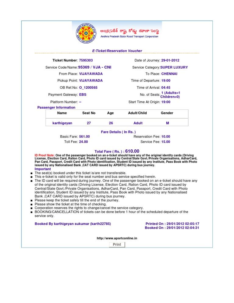Http Wwwapsrtconlinein Print Ticket – Redbus Ticket Print