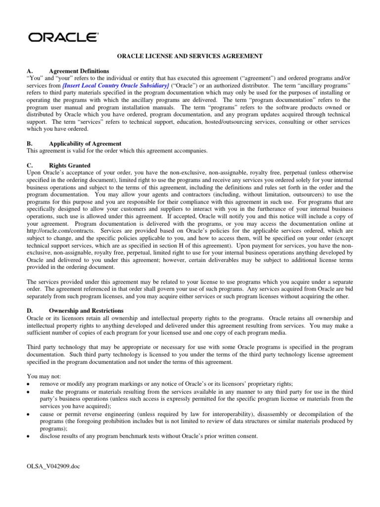 Olsa Global License Indemnity