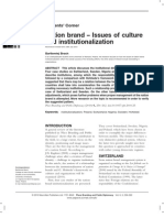 M Nation brand   –  Issues of culture  and     institutionalization