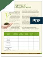 Key Metric Comparison of Five Cellulosic Biofuel Pathyways
