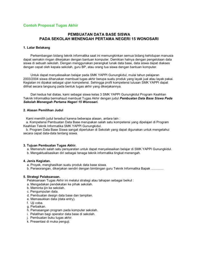 Contoh Proposal Tugas Akhir Pembuatan Data Base Siswa Pada Sekolah Menengah Pertama Negeri 15 Wonosari