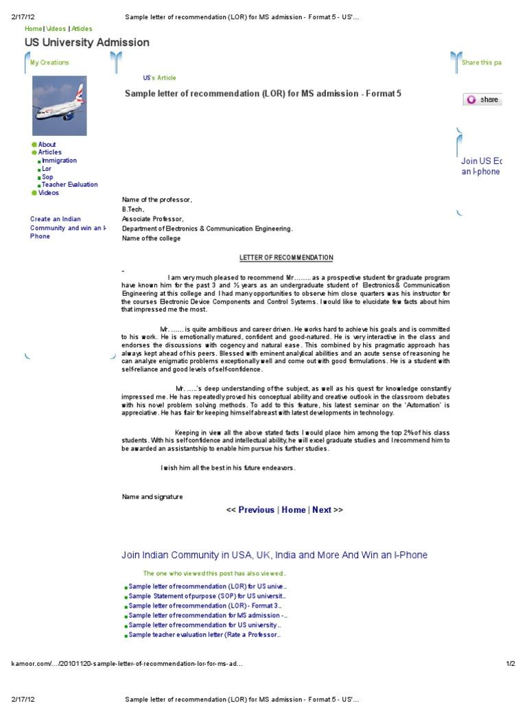 Sample Letter Of Recommendation LOR For MS Admission