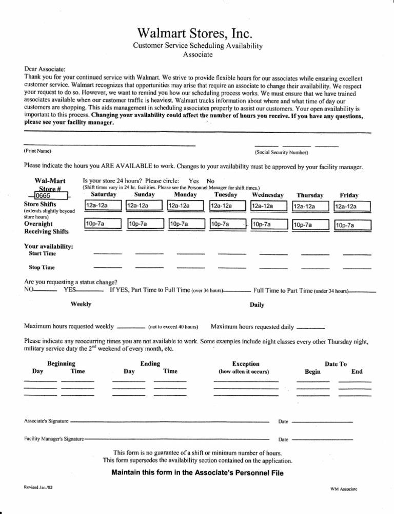 wm availability sheet