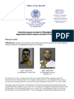 Homicide suspect arrested in Philadelphia, Pa.;Aggravated Assault suspect arrested in Puerto Rico