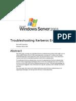 Troubleshooting Kerberos Errors