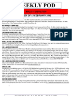 FRO WEEKLY PLAN OF THE DAY, THE WEEK OF 13 FEBRUARY 2012