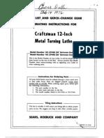 Atlas Craftsman 12 in Lathe Parts Diagram
