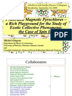 Michael Gingras- Frustrated magnetic pyrochlores- a rich playground for the study of exotic collective phenomena